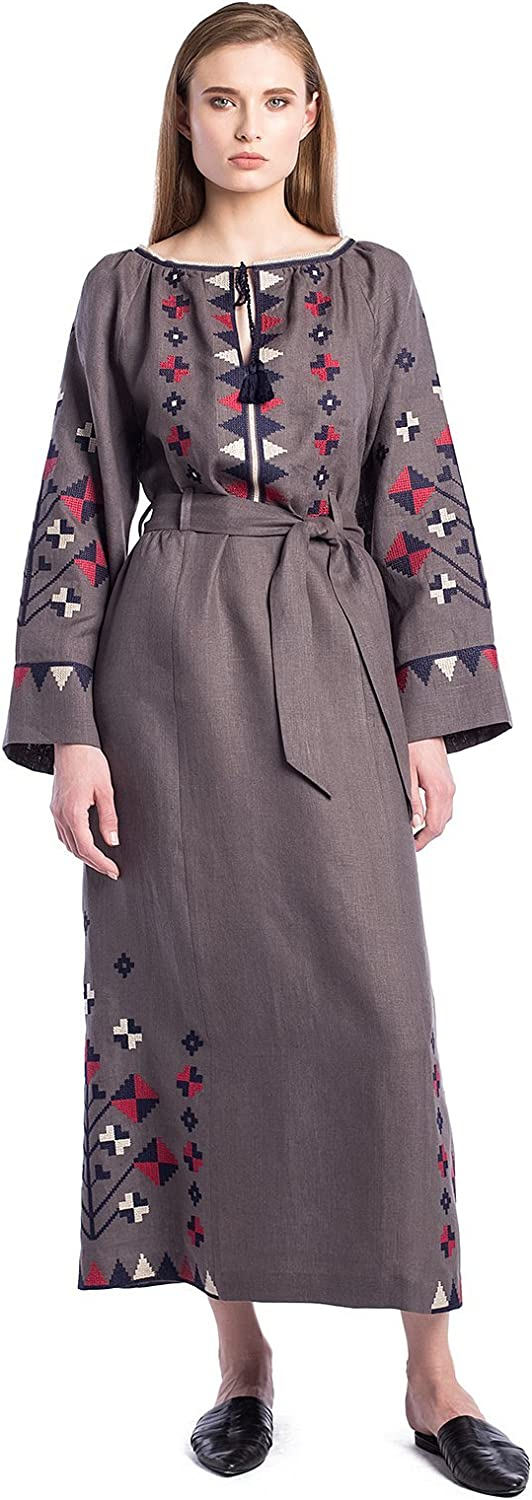ETNODIM Woman Ukrainian Embroidered Boho Dress Long Sleeve FullLength Vyshyvanka Linen bluee Grey