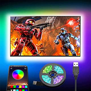 Romwish TV LED Backlights, 9.8ft LED Strip Lights with Bluetooth APP Control for 46-60 inch TV, 16 Million Colors, Music S...