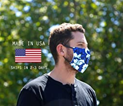 product image for Blue Hawaiian MADE IN THE USA, Double Layered Cotton and Polyester Fabric Face Mask, Hawaiian Print Face Mask, Washable and Reusable Face Mask, One Size Fits Most, Double Layered