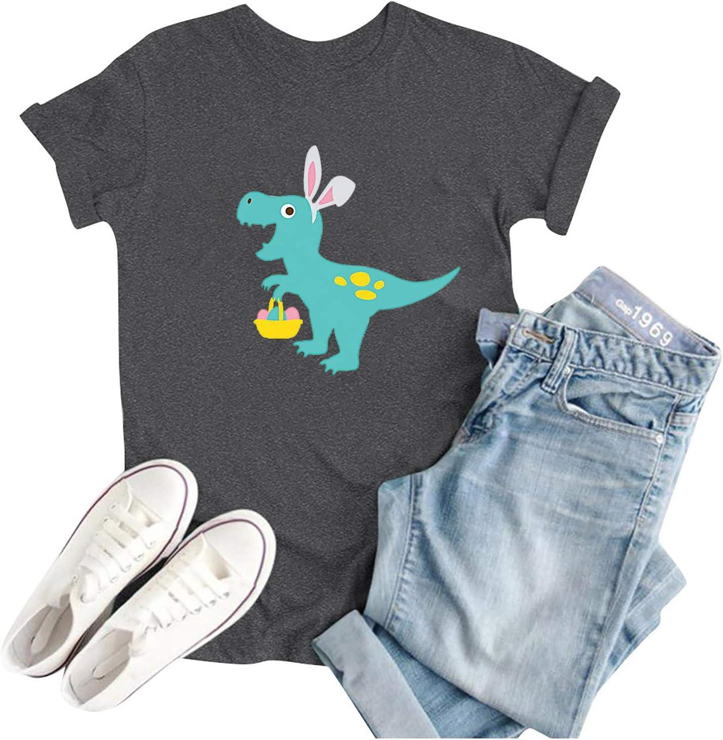 Missli Easter Shirts for Women, Cartoon Dinosaur Print Short Sle