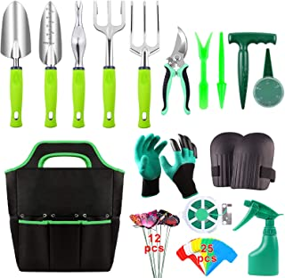52 Pieces Garden Tools Set, Heavy Duty Gardening Tools with Non-slip Rubber Handle, Durable Storage Tote Bag, Pruning Shea...