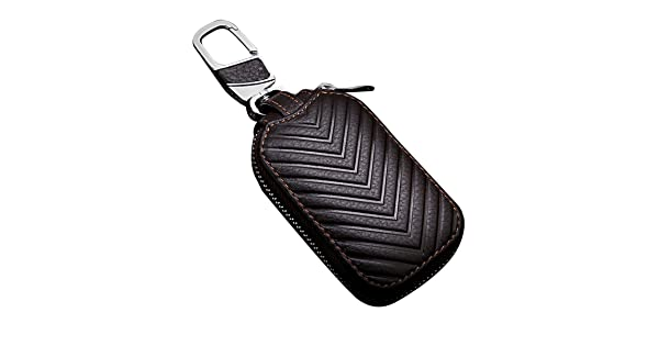 MoreFarther Leather Car Key Case Key Holder for Car Smart Key Chain Key Ring Coin Case Keychains for Car Keys Fasion Zipper Wallet Case for Auto Remote Key Red L