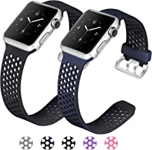 Mosstek Compatible with Apple Watch Bands 38mm 40mm 42mm 44mm 2 Pack Soft Silicone Sport Bands Replacement Wristband with Air Holes Compatible Apple Watch Series 4 3 2 1 Black Men Women