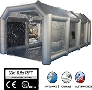 Stone Banks Portable Inflatable Tent, Spray Paint Booth Tent Filtration Workstation Outdoor Garage Tent for Car Painting, Camping (33'x16.5'x13')