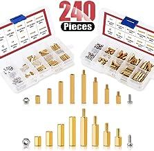 Hilitchi 240pcs M2 and M3 Brass Spacer Standoff Screw Nut Assortment Kit