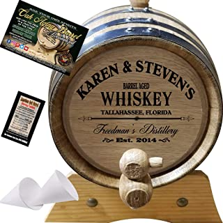 Personalized American Oak Whiskey Aging Barrel (063) - Custom Engraved Barrel From Skeeter's Reserve Outlaw Gear - MADE BY American Oak Barrel - (Natural Oak, Black Hoops, 2 Liter)