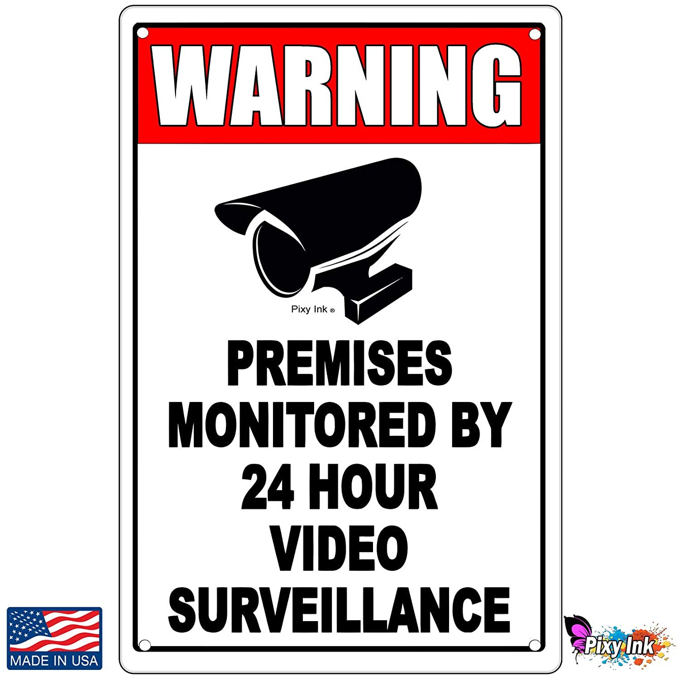 Property Protected by Video Surveillance Warning Security Camera Metal Sign 4x6 Inches