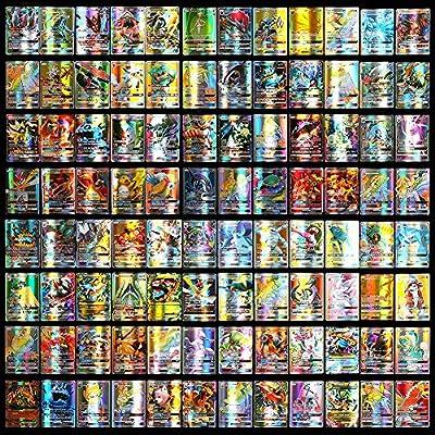 Juego de cartas de Pokémon, 100 tarjetas de Pokemon incluyendo 95 tarjetas GX y 5 tarjetas Mega Pokemon para niños de dibujos animados para niños por Urhause
