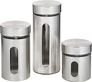 Harmony 2724623292946 Glass Canister With Stainless Steel Coat 3 Pieces Set