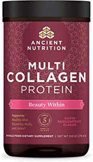 Ancient Nutrition Multi Collagen Protein Powder Beauty Within, Guava Passion Fruit, Formulated by Dr. Josh Axe Flavor, Hydrolyzed Collagen Supplement Supports Hair, Skin & Joints, 24 Servings, 9.8 OZ