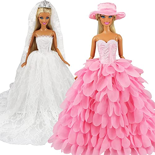 Barwa White Wedding Dress with Veil and Pink Princess Evening Party Clothes Wears Gown Dress Outfit with Hat for 11.5...