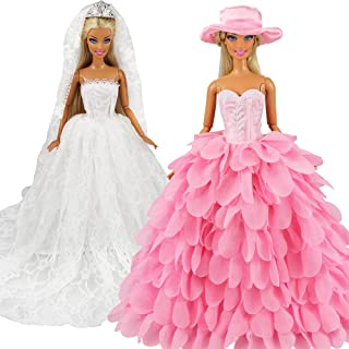 BARWA White Wedding Dress with Veil and Pink Princess Evening Party Clothes Wears Gown Dress Outfit with Hat for 11.5 Inch...