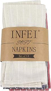 INFEI Lot de 12 serviettes de table en lin rayé blanc doux (40 x 30 cm) pour événements et usage domestique (multicolore)
