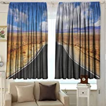 AFGG Rod Pocket Blackout Drapes United States Highway in California Steppe and Clouds Asphalt Road Horizon Hills Journey Curtains for Living Room 63 W x 45 L Inches Multicolor