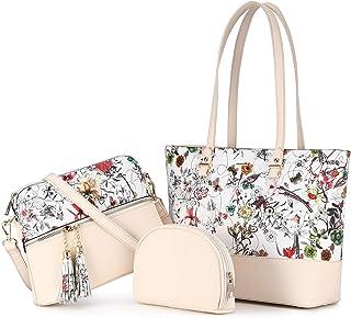 LOVEVOOK Damen Handtasche Schultertaschen Elegant Shopper Groß 3 Set Handtaschen Pu Leder Tasche Umhängetasche Henkeltasch...