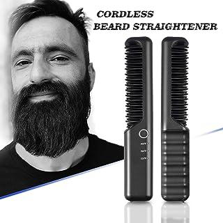 Travel Cordless Beard Straightening Brush for Men, Battery Operated Beard Straightener 4000mAh, Portable for Dating, Meeting, Traveling, Camping etc