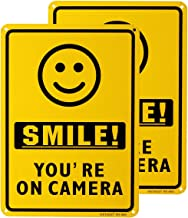 METERIO Smile You're On Camera Video Surveillance Sign 2 Pack, UV Protected and Waterproof, Indoor Or Outdoor Use for Home...