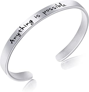 Motivational Jewelry Gifts for Women Silver Bangle Bracelet Mantra Engraved Anything is Possible