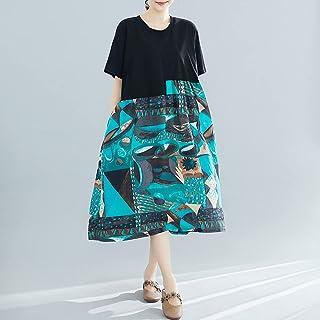 Women Vintage Loose Dress Contrast Color Abstract Printed High Waist Pockets Boho Holiday Midi Dress Homgee
