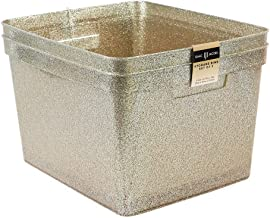 "Isaac Jacobs Large Glitter Storage Bin (14"" x 11.5"" x 8.75"") Set w/Cut-Out Handles, Plastic Organizer, Multi-Functional, H..."