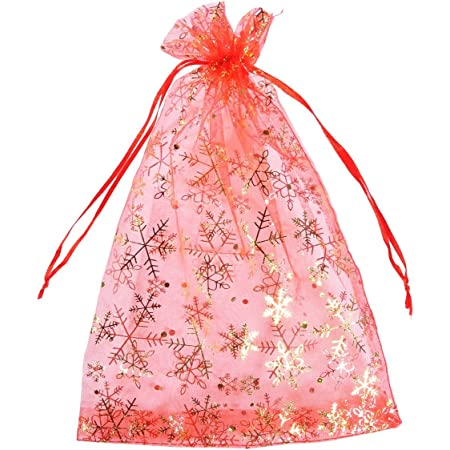Red Style 1, 10x15 cm Lindong 80 Pieces Christmas Snowflake Organza Gift Bags Wedding Party Gift Bag