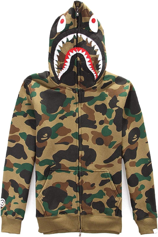 Manbozix Herren Haifisch Haifisch Haifisch Camouflage Hoodie Kapuzenpullover Sweatshirt Voll Reißverschluss Kapuzen-Sweatshirt mit Samt B07KF9FL2P  Zuverlässiger Ruf 5d1ffe