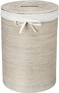 KOUBOO 1030040 Round Rattan White Wash Hamper with Liner, 17