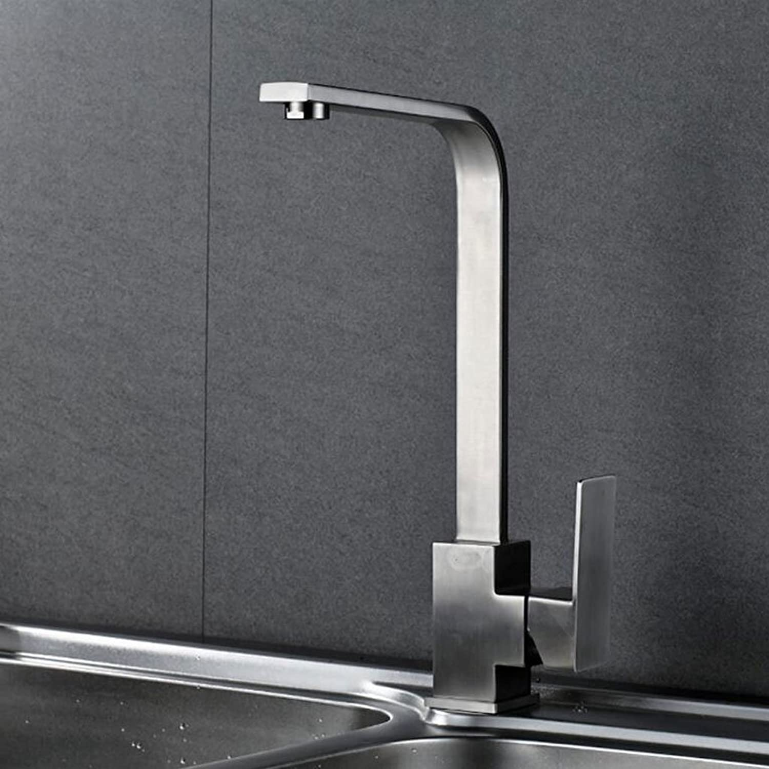 FJH Simple and Stylish 304 Stainless Steel Kitchen Faucet Hot and Cold Wash Basin Faucet redatable Square Sink Dishwasher Faucet