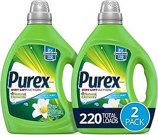 Purex Liquid Laundry Detergent, Natural Elements Linen & Lilies, 2X Concentrated, 220 Total Loads, 82.5 Fl Oz, Pack of 2