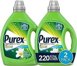 Purex Liquid Laundry Detergent, Natural Elements Linen & Lilies, 2X Concentrated, 2Count, 220 Total Loads