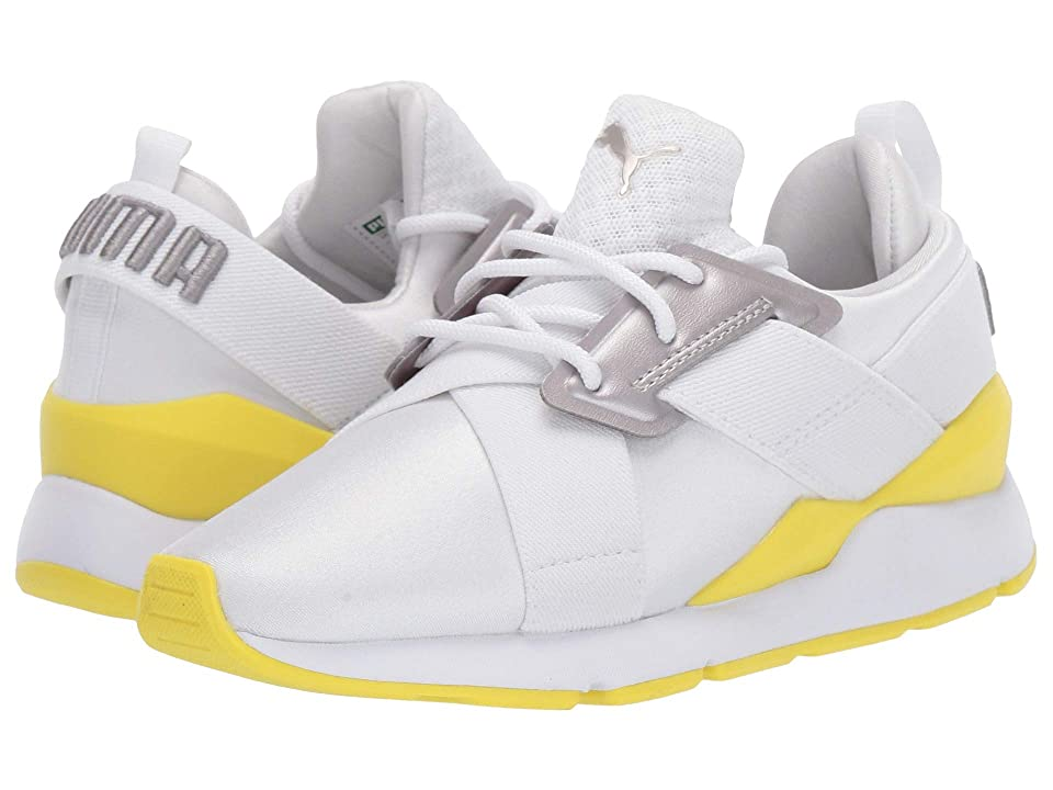 Puma Kids Muse (Little Kid) (Puma White/Blazing Yellow) Girl