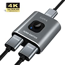 HDMI Switch 4k HDMI Splitter-GANA Aluminum Bidirectional HDMI Switcher, HDMI Switch Splitter 1 in 2 Out or 2 in 1 Out, Manual HDMI Hub Supports HD 4K 3D 1080P for HDTV Blu-Ray-Player Fire Stick Xbox