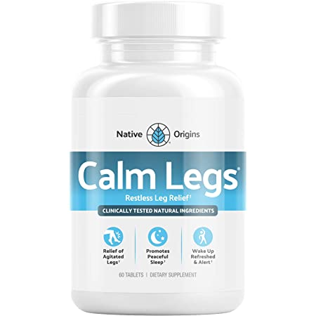 Calm Legs Natural Sleep Aid for Natural Itching, Crawling, Tingling and Leg Jerk Relief with Iron, Magnesium, and Valerian Root (60 Tablets)…