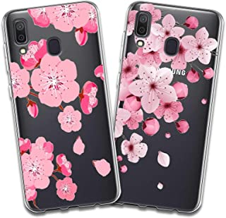 2 X Samsung Galaxy A20 Case Soft Silicone Gel TPU Protective Back Cover for Samsung Galaxy A20 (6.4 Inch) (Pink Flower)