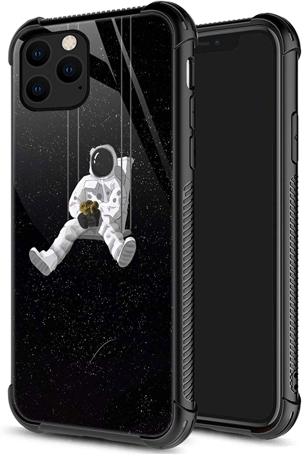 iPhone 12 Mini Case, Astronauts on Swings iPhone 12 Mini Cases for Men Boys, Pattern Design Shockproof Anti-Scratch Organic Glass Case for Apple iPhone 12 Mini 5.4-inch Astronauts on Swings