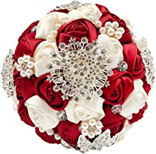 Abbie Home Bride Wedding Bouquet in Burgundy & White Rose with Pearls and Rhinestone Brooches Accessories-Multi Color Selection (453RB)