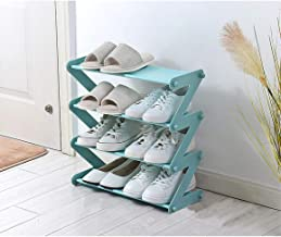 GSQUARE® 4 Tier Shoe Rack, Stackable Multi-Layer Shoe Organizer Shelf for Living Room, Entryway || 4 Layer Z Shaped (Green)