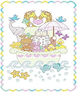 Jack Dempsey Needle Art 406039 Noah's Ark Crib Quilt Tops, 40-Inch-by-60-Inch, White