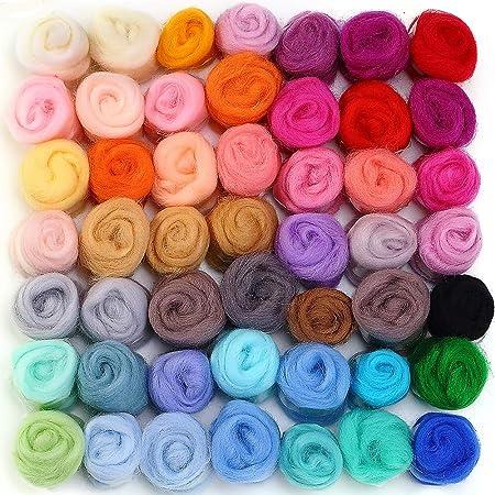 blue Aquila NeedleWet Felting Felting Wool Spinning FibreFiber MerinoTussah Silk Wool Top  Roving Blend
