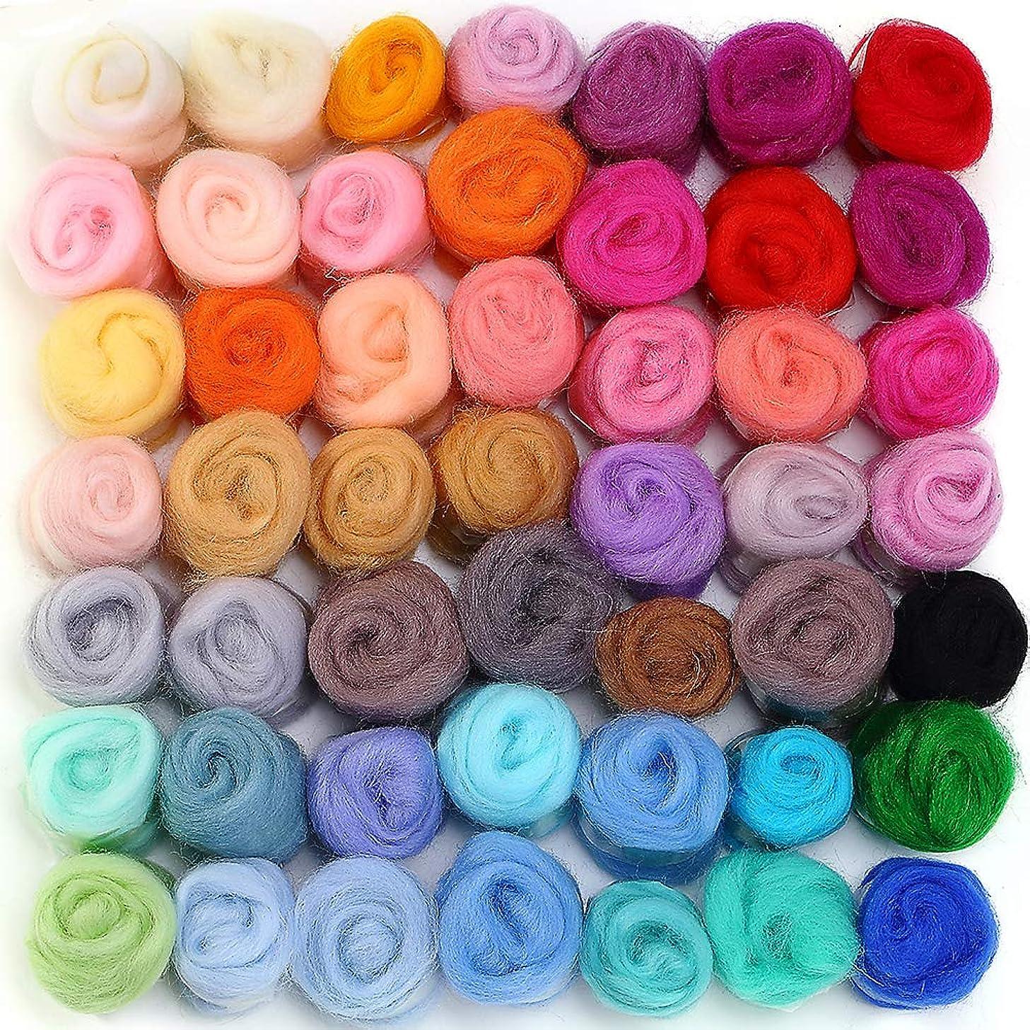 MOMODA 50 Colors Fibre Wool Yarn Roving for Needle Felting Hand Spinning DIY Craft Materials