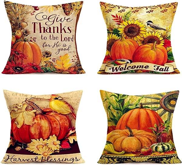 Autumn Harvest Decor Throw Pillow Covers Thanksgiving Fall Blessing Words Cardinal Robin Farm Pumpkin Sunflowers Maple Leaves Pillowcase Cotton Linen Birds Cushion Cover 18 X18 4Pack AH Blessing