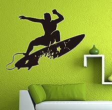 "JCM CUSTOM Surfer Surfboard Surf Wall Vinyl Decal 28"" X 22"" (Choose Color)"