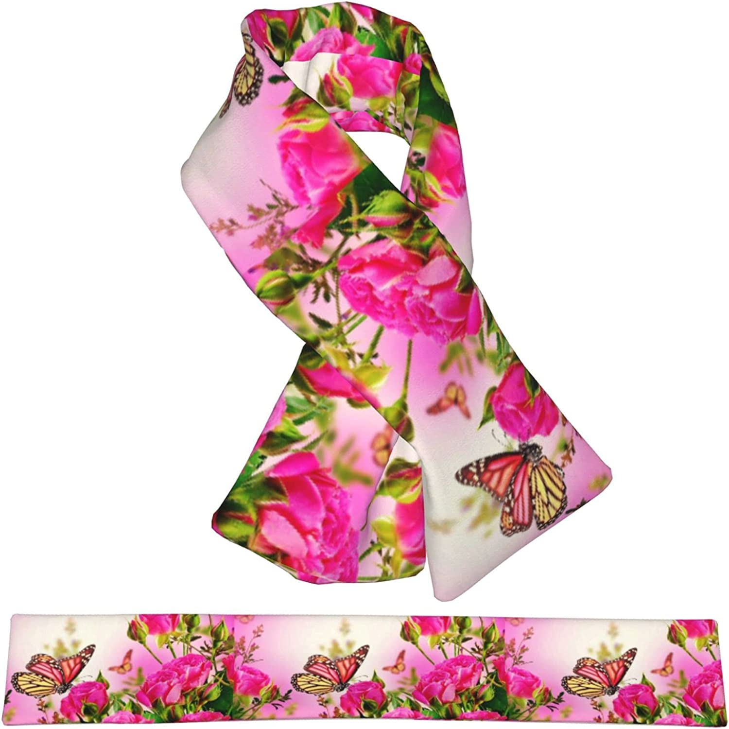 Flowers And Butterflies San Diego Mall Free shipping New Plush Double-Sided Sca Scarf Warm