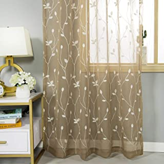 AmHoo Floral Leaf Embroidery Semi Sheer Curtain Rod Pocket Voile Sheer Curtains Set of 2 for Living Bedroom Window Treatment (Coffee, 53 x 63 Inch)