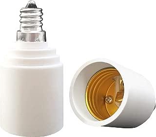 YAYZA! 2-Pack E12 to E26 E27 Bulb Base Adapter, Candelabra to Medium Edison Screw Light Socket Converter, Heat Resistant Up to 200℃ No Fire Hazard