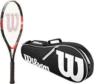 Wilson Roger Federer Boy's Pre-Strung Junior Black/Red Tennis Racquet Kit or Set Bundled with a Junior Tennis Bag Bundle (Best Racquet for Kids Ages 5-10)
