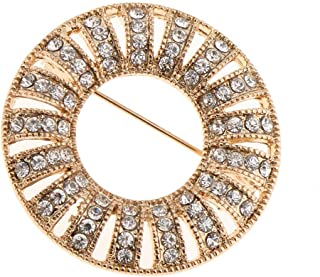 Charm Crystal Round Elegant Women Wedding Party Brooch Pin Bouquet Breastpin | Color - Gold