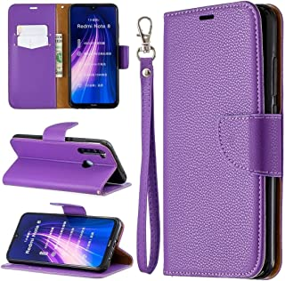 For Xiaomi Redmi Note 8 Litchi Texture Pure Color Horizontal Flip PU Leather Case with Holder & Card Slots & Wallet & Lanyard New (Dark Blue) Lyaoo (Color : Purple)