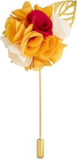 Knighthood Men's Bunch Flower with Golden Leaf Lapel Pin for Suit Boutonniere Pin with Gift Box for Suit Wedding Groom (Yellow Pink & White)