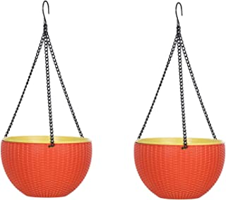 AASHU Hanging Planters Wowen Finish Planter Pot for Indoor and Outdoor, Hanging Planter Basket with Chain (10inch Orange,s...